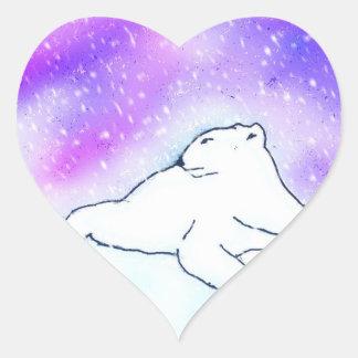 Polar Bear in the Snow ! (K.Turnbull Art) Heart Sticker