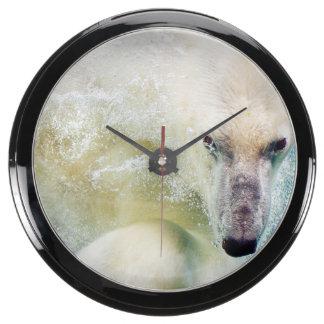 Polar Bear In Water Fish Tank Clock