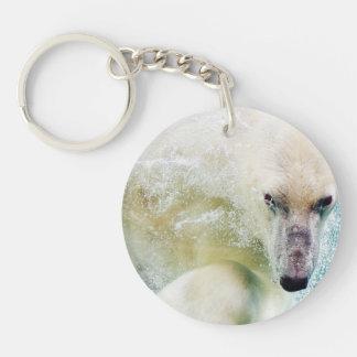 Polar Bear In Water Keychain