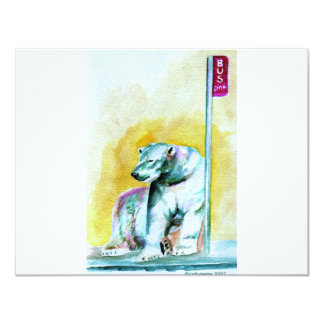 "polar bear 4.25"" x 5.5"" invitation card"