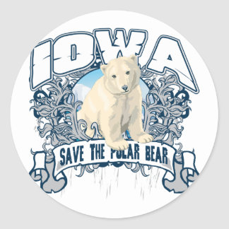 Polar Bear Iowa Round Sticker