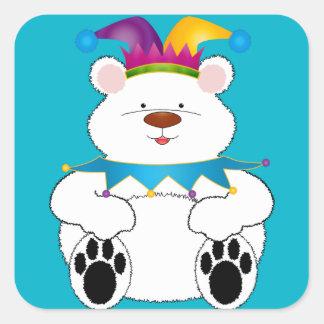 Polar Bear Jester Square Sticker