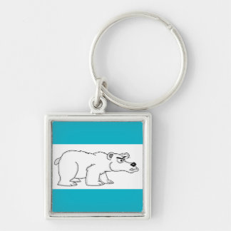 Polar bear Silver-Colored square keychain