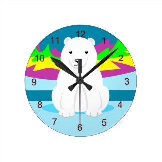Polar Bear Kids Wall Decor Round Clock