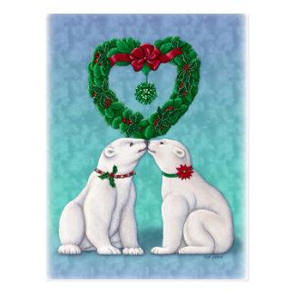 Polar Bear Kiss Postcard