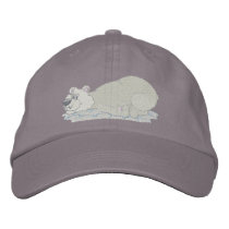 Polar Bear Laying On Tummy Embroidered Baseball Cap