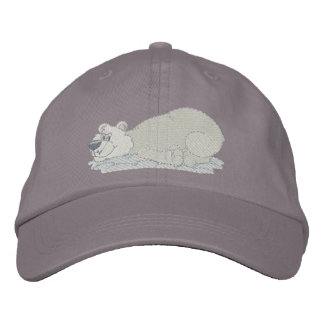 Polar Bear Laying On Tummy Embroidered Baseball Hat