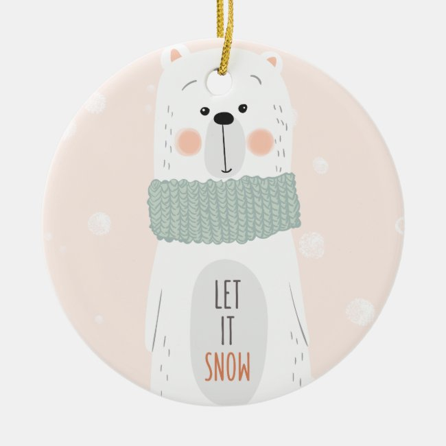 Polar bear - Let it snow - Christmas Ornament