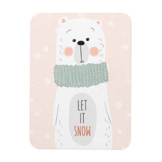Polar bear - Let it snow - Cute Christmas Magnet