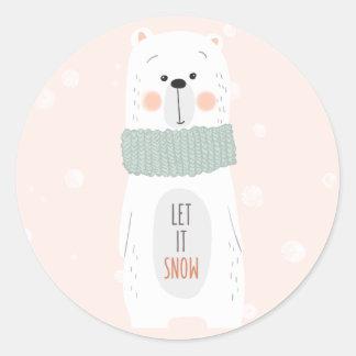 Polar bear - Let it snow - Cute Christmas Sticker