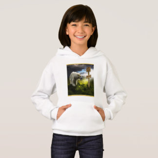 Polar bear looking at the north pole wooden sign hoodie