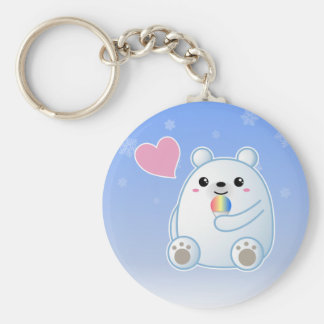 Polar Bear Love Basic Round Button Keychain