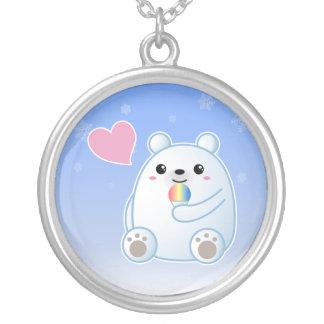 Polar Bear Love Round Pendant Necklace