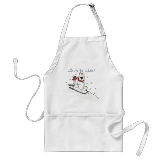 Polar Bear Love to Ski T-shirts and Gifts Adult Apron