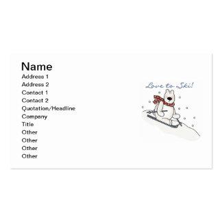 Polar Bear Love to Ski T-shirts and Gifts Business Card