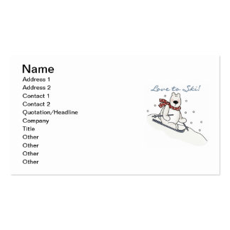 Polar Bear Love to Ski T-shirts and Gifts Business Card Template