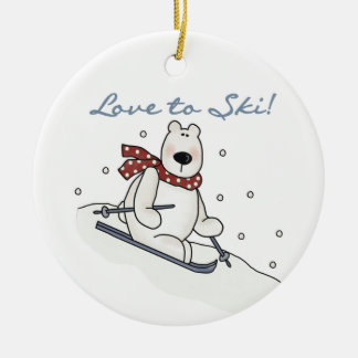Polar Bear Love to Ski T-shirts and Gifts Ceramic Ornament