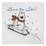 Polar Bear Love to Ski T-shirts and Gifts Poster