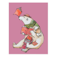 Polar Bear loves to read Postcard