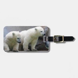 Polar Bear Luggage Tag w/ leather strap