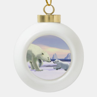 Polar Bear - Mama Nose Best Ceramic Ball Christmas Ornament