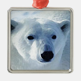 Polar Bear Metal Ornament