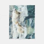 Polar Bear Mom and Cub Fleece Blanket