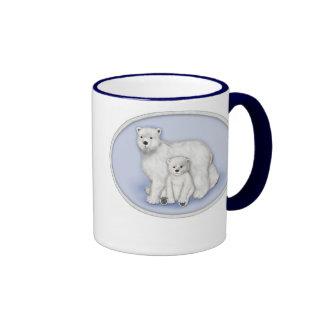 Polar Bear Mom and Cub Ringer Coffee Mug