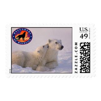 Polar Bear Mom and Cub Postage