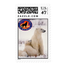 Polar Bear Mom and Cubs Postage