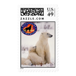 Polar Bear Mom and Cubs Postage Stamps