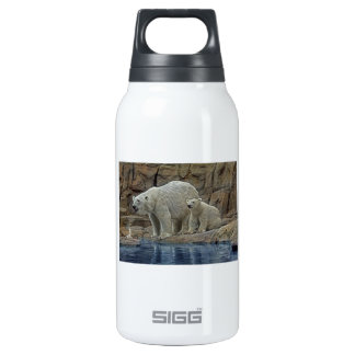 Polar Bear Mother and Cub Insulated Water Bottle