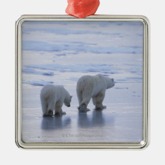 Polar Bear Mother and Cub Metal Ornament