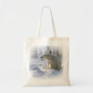 Polar bear mother and cub tote bag