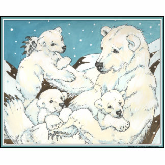Polar Bear Mother and Cubs Acrylic Cut Outs