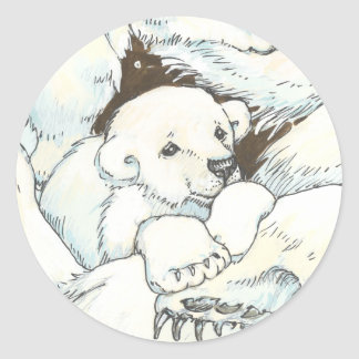 Polar Bear Mother and Cubs Classic Round Sticker