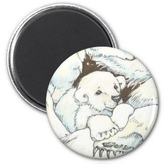 Polar Bear Mother and Cubs Magnet