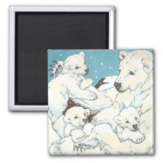Polar Bear Mother and Cubs 2 Inch Square Magnet