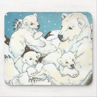Polar Bear Mother and Cubs Mouse Pads
