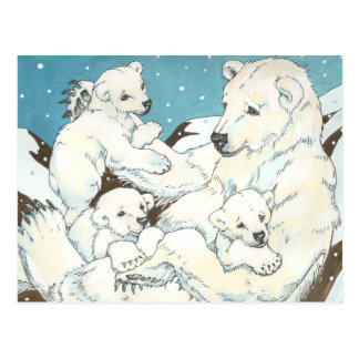Polar Bear Mother and Cubs Postcard