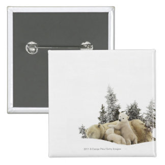 Polar Bear Mother And Her Cubs in Wapusk Park 2 Inch Square Button