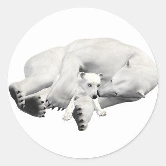 Polar Bear Mother & Child Classic Round Sticker