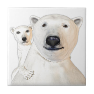 Polar Bear Mother with Child Playing Ceramic Tile
