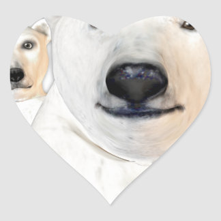 Polar Bear Mother with Child Playing Heart Sticker