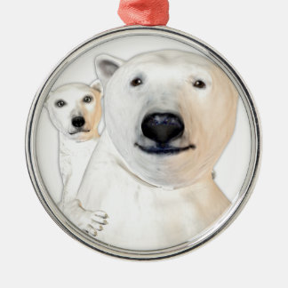 Polar Bear Mother with Child Playing Metal Ornament