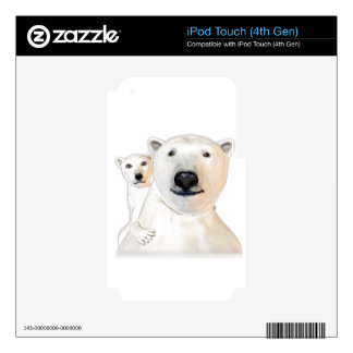 Polar Bear Mother with Child Playing iPod Touch 4G Decal