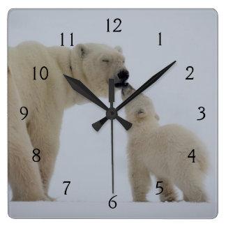 Polar Bear mother with cub Wallclock