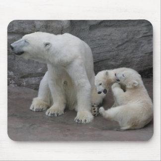 Polar Bear Mum and Cubs Mouse Pad