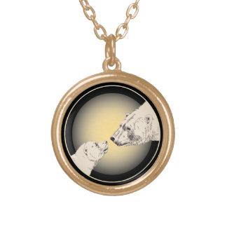 Polar Bear Necklace Mother & Cub Bear Art Jewelry
