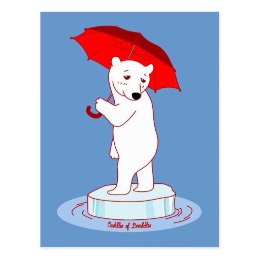 Polar Bear need an Umbrella Doodle Art Postcard